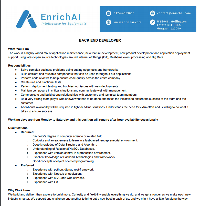 EnrichAI | Openings in EnrichAI an Startup in Gurgaon for Backend ...